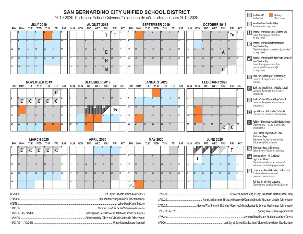 Calendars – Cesar E. Chavez Middle School For North Hills School Calendar