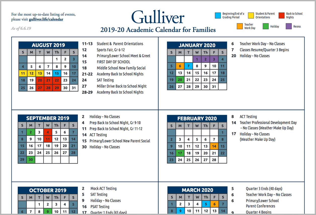 Calendars – Gulliver Schools Throughout Miami Dade College School Calendar 2021 2020