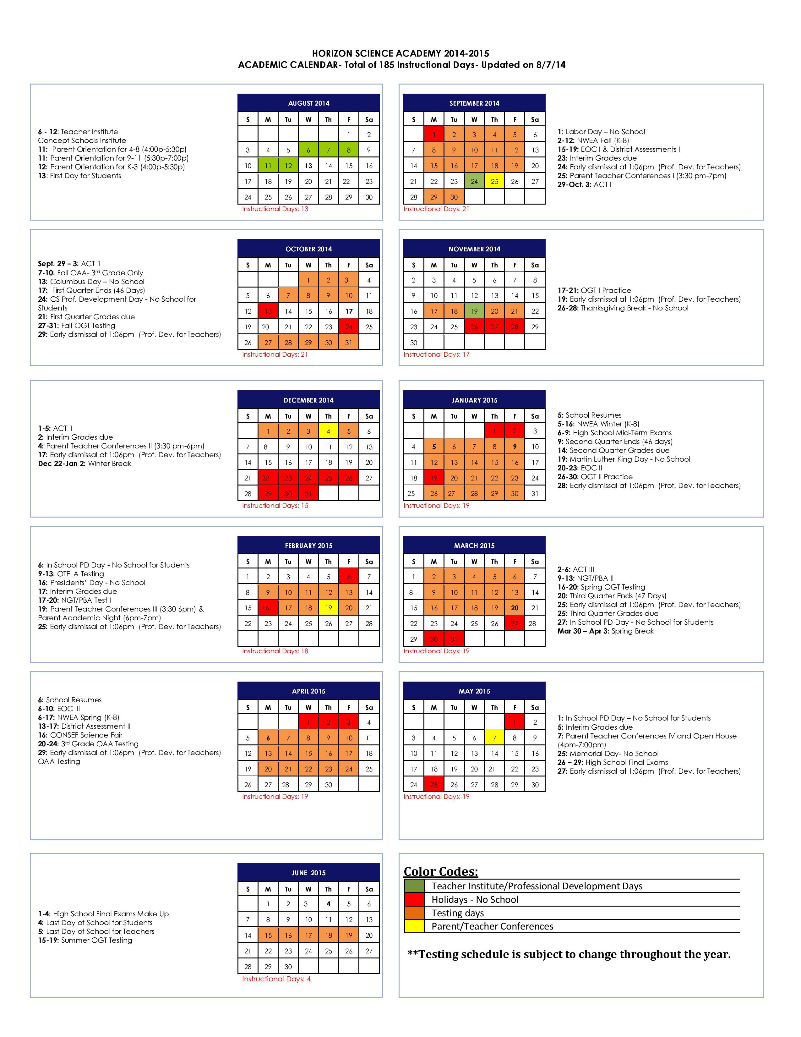 Calendars – Hsa Lorain Charter School (K 12)Concept Schools With Regard To Case Western Reserve University Academic Calendar