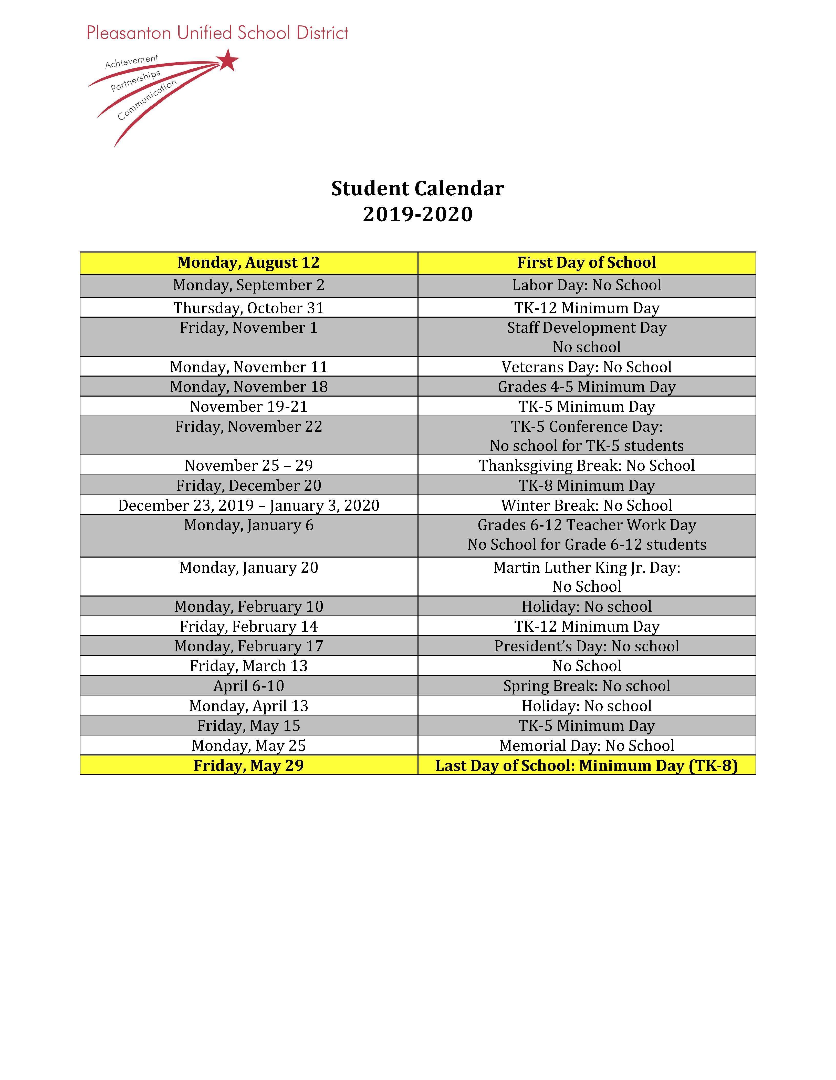 Calendars – Miscellaneous – Pleasanton Unified School District Within Schedule For Menlo Parkschool District