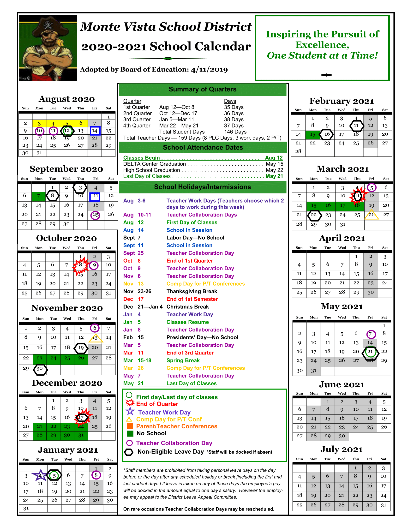 Calendars – Monte Vista School District Intended For Ontario Montclair School District Calendar