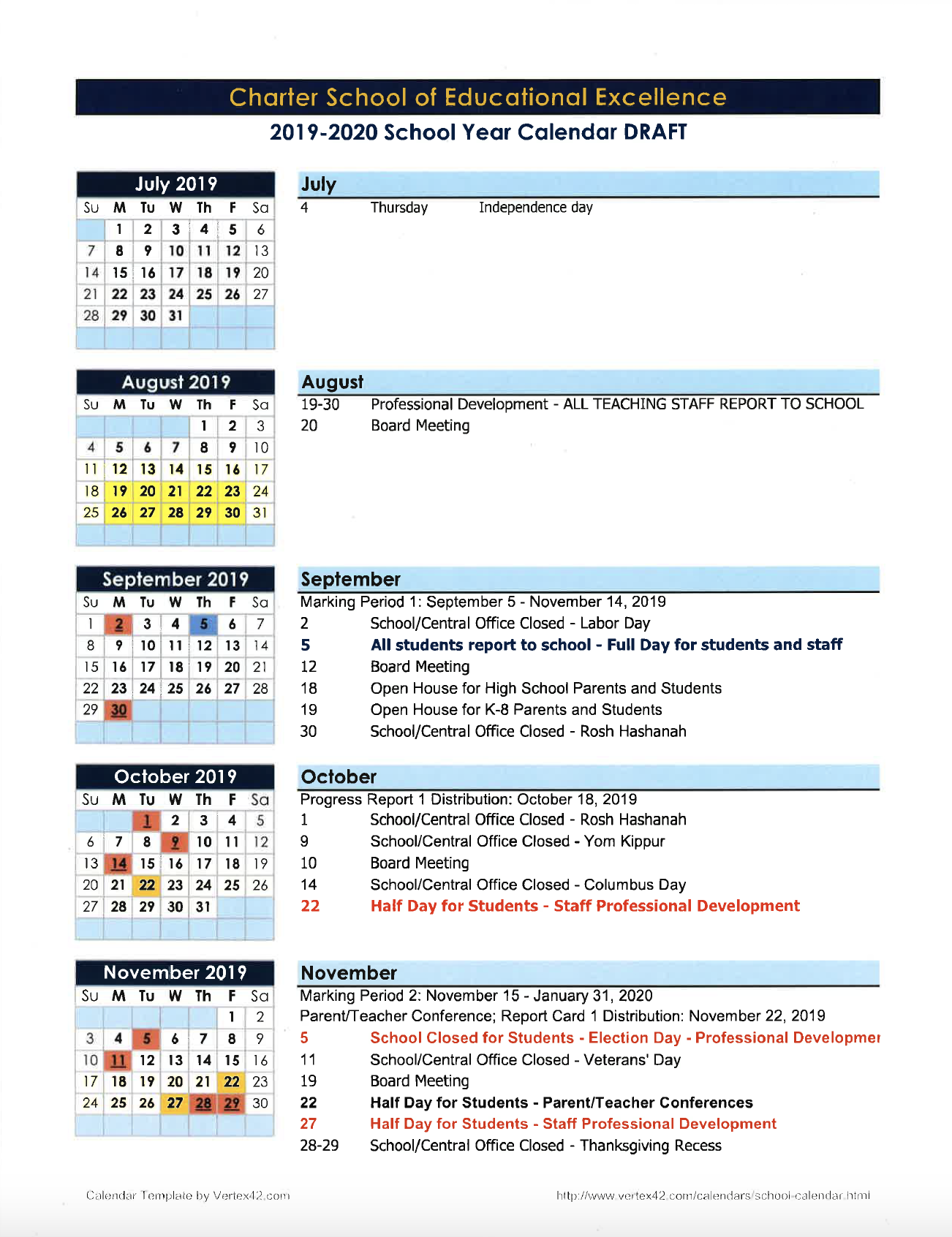 Calendars – Parents – Charter School Of Educational Excellence Regarding Staten Island College Callendar