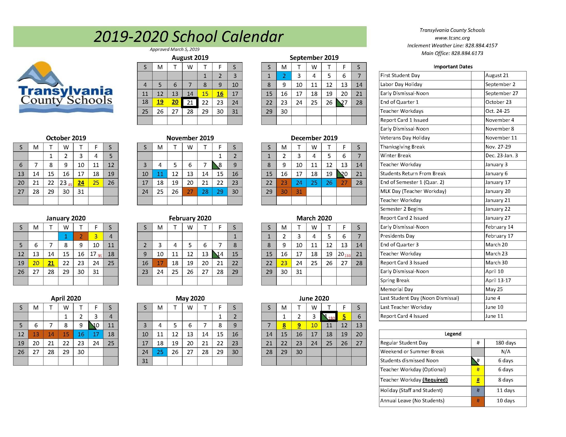 Calendars – Transylvania County Schools In Dare County School Calendar