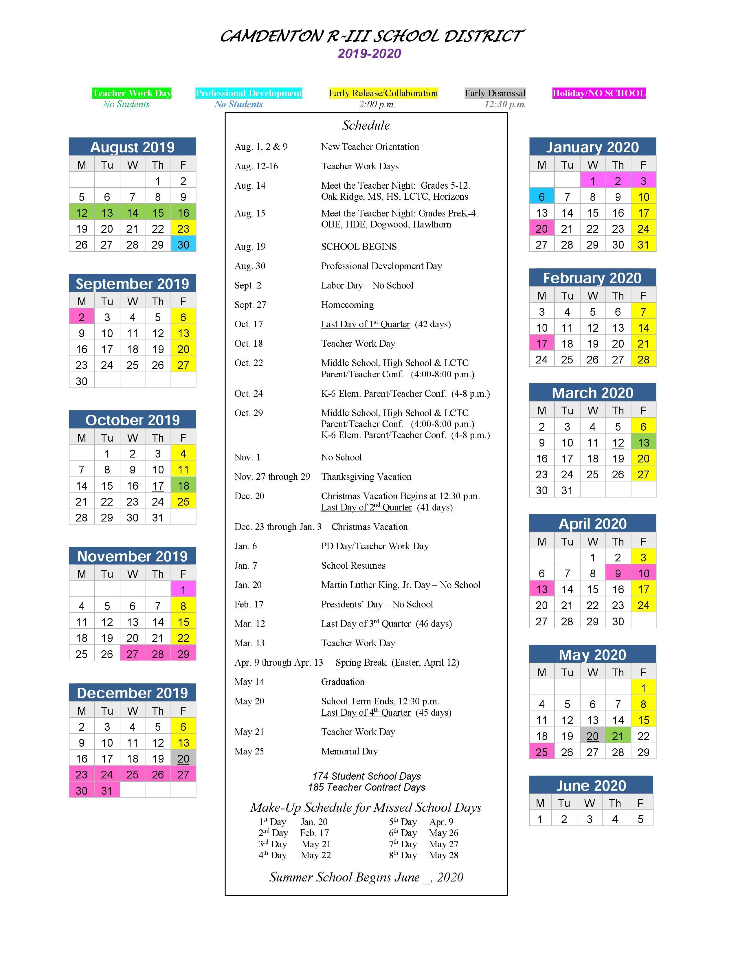 Camdenton R Iii School District With Dare County School Calendar