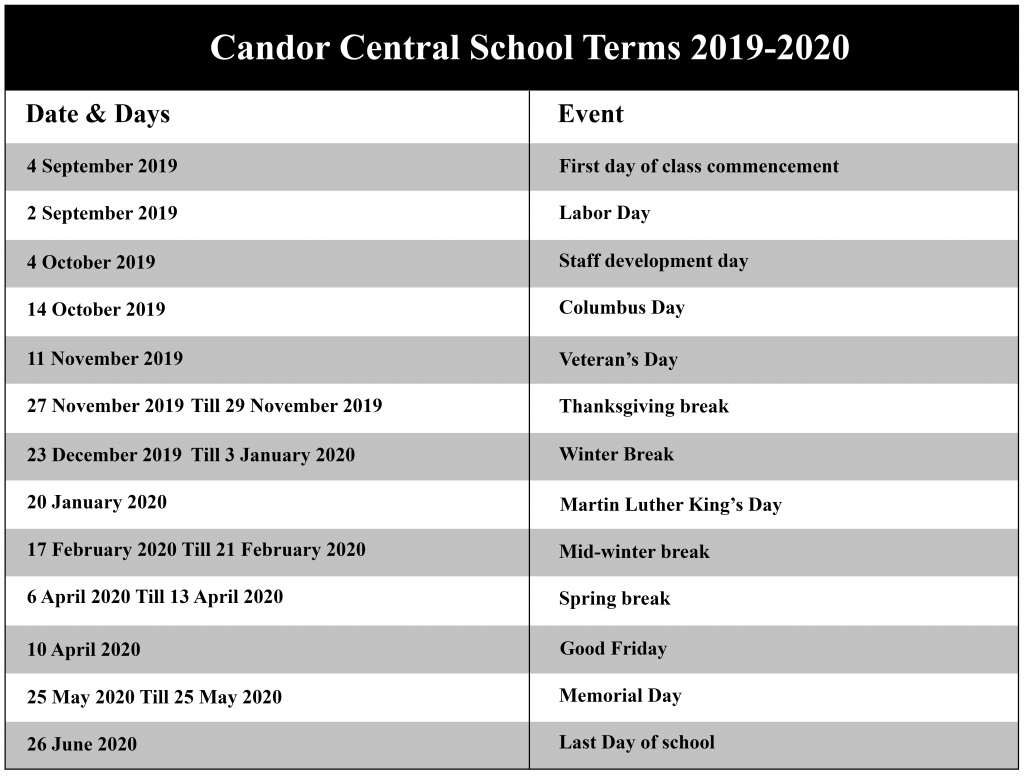 Candor Central School District Calendar 2020 | Nyc School Intended For Greece Central School District Calendar January Holidays