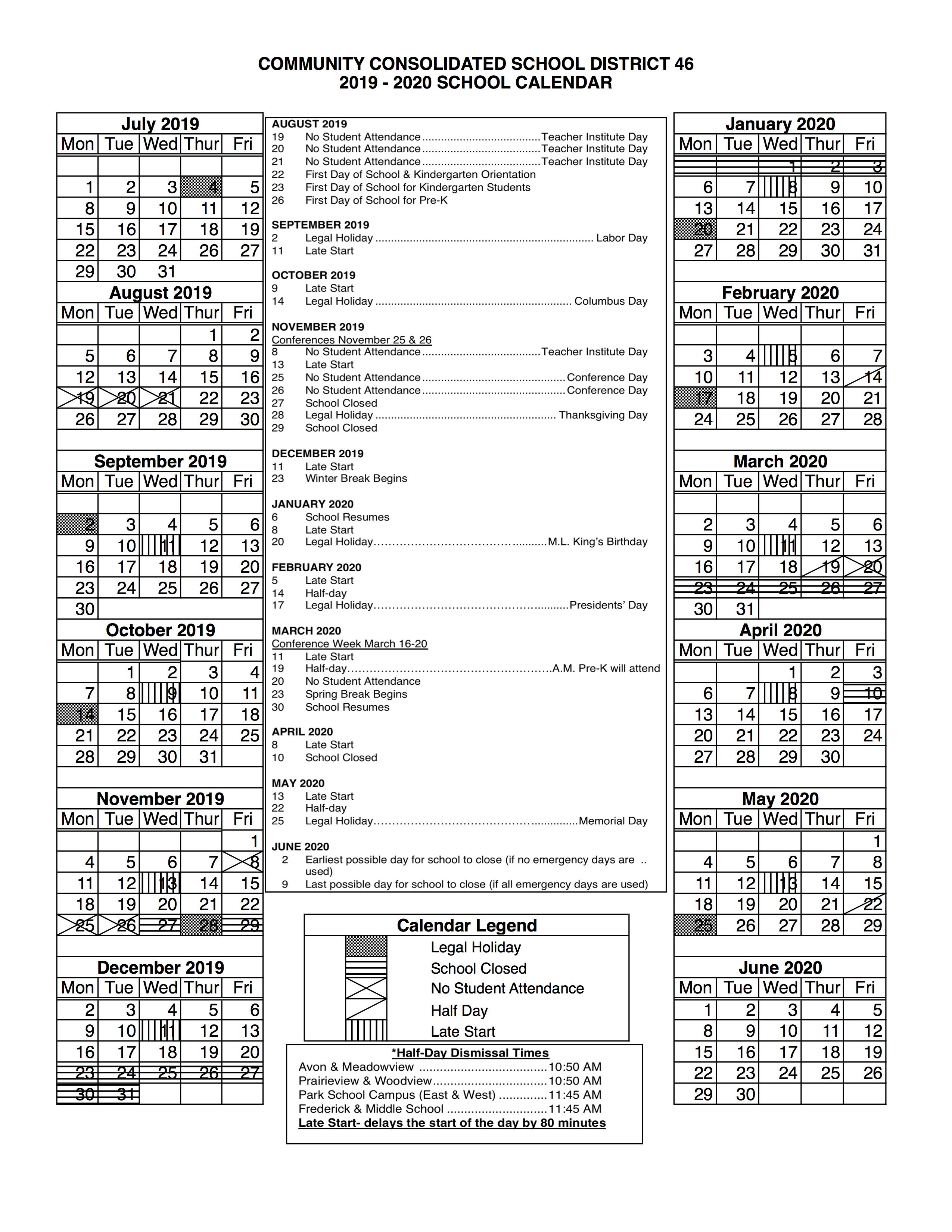 Ccsd 46 – District Calendar Inside St Charles Illinois School Calendar