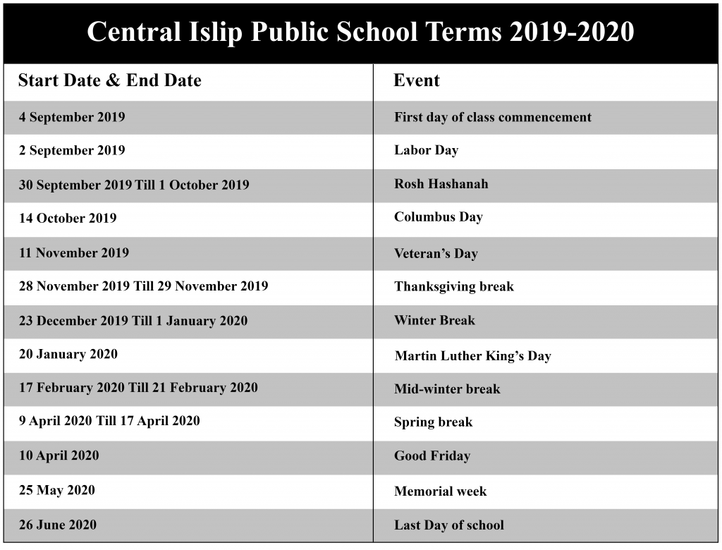 Central Islip Public Schools Academic Calendar 2020-2021 intended for Central Islip School District Calendar