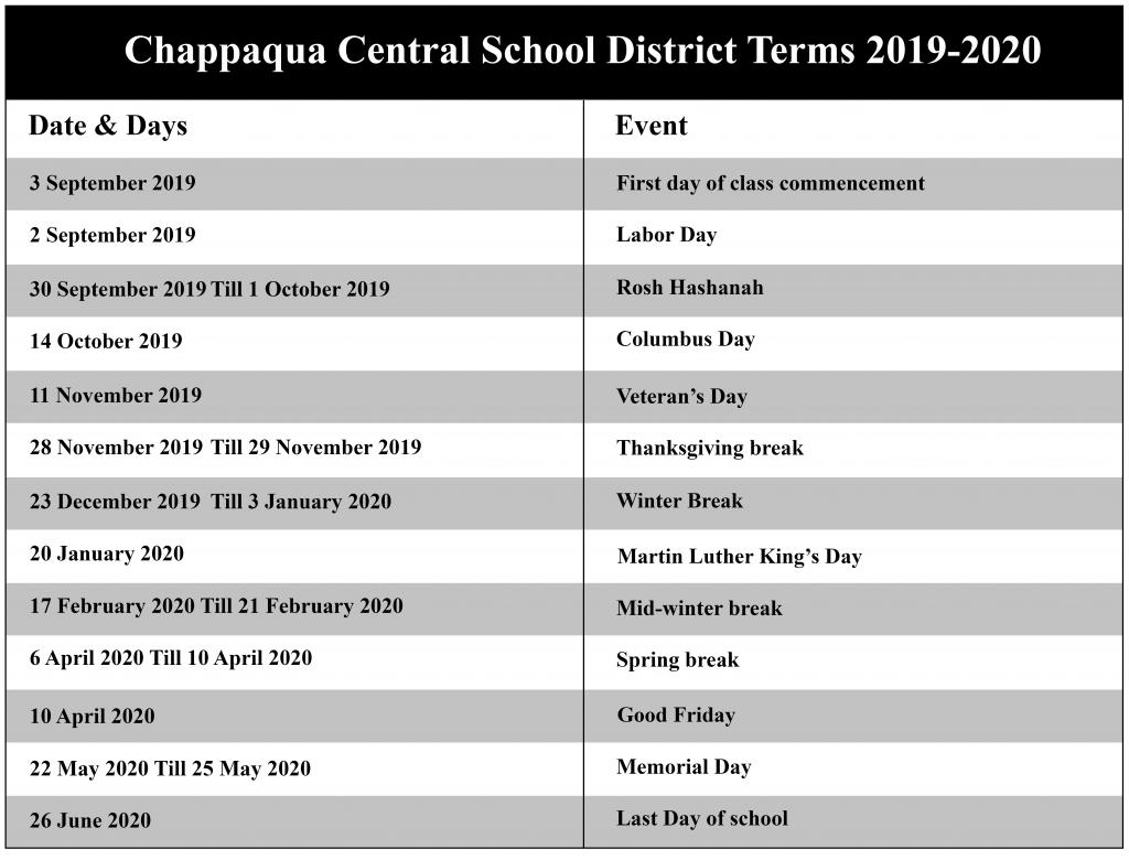 Chappaqua Central School District Academic Calendar 2020 Inside Bedford Central School Calendar