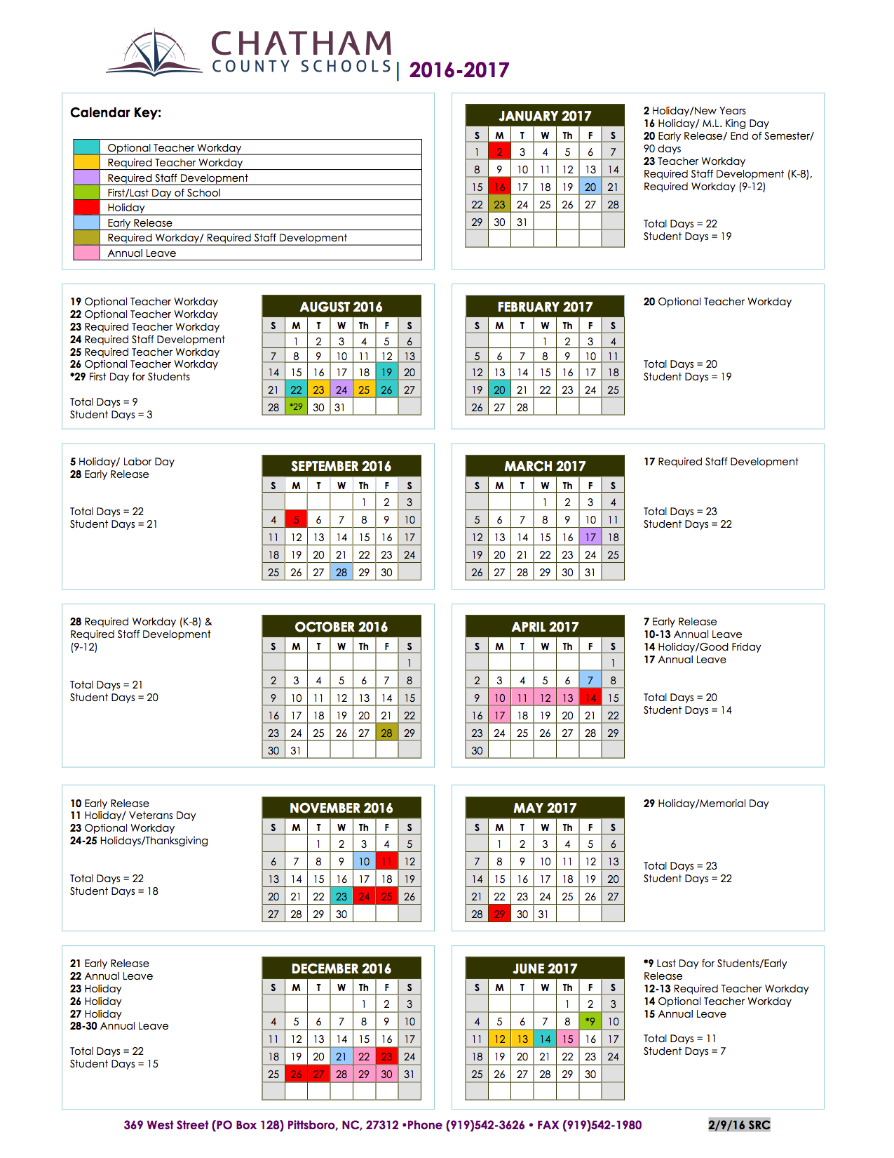 Chatham County Board Of Education – Education Within Johnston County Schools Nc Calendar