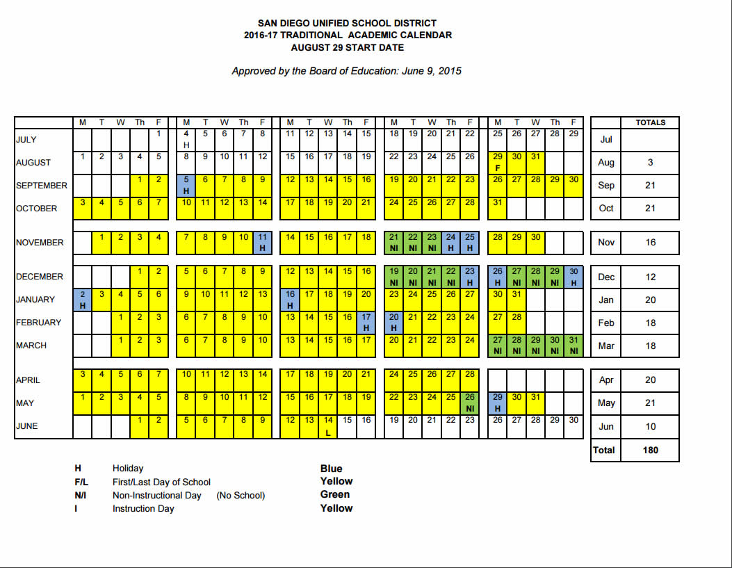 Chesterton Elementary School Calendar, Closing Dates, Winter Throughout San Diego Unified School District Calendar