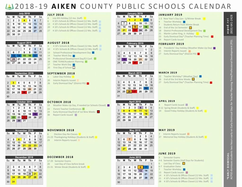 Chick Fil A Calender 2020 - Calendar Inspiration Design With Regard To Aiken County School Calendar