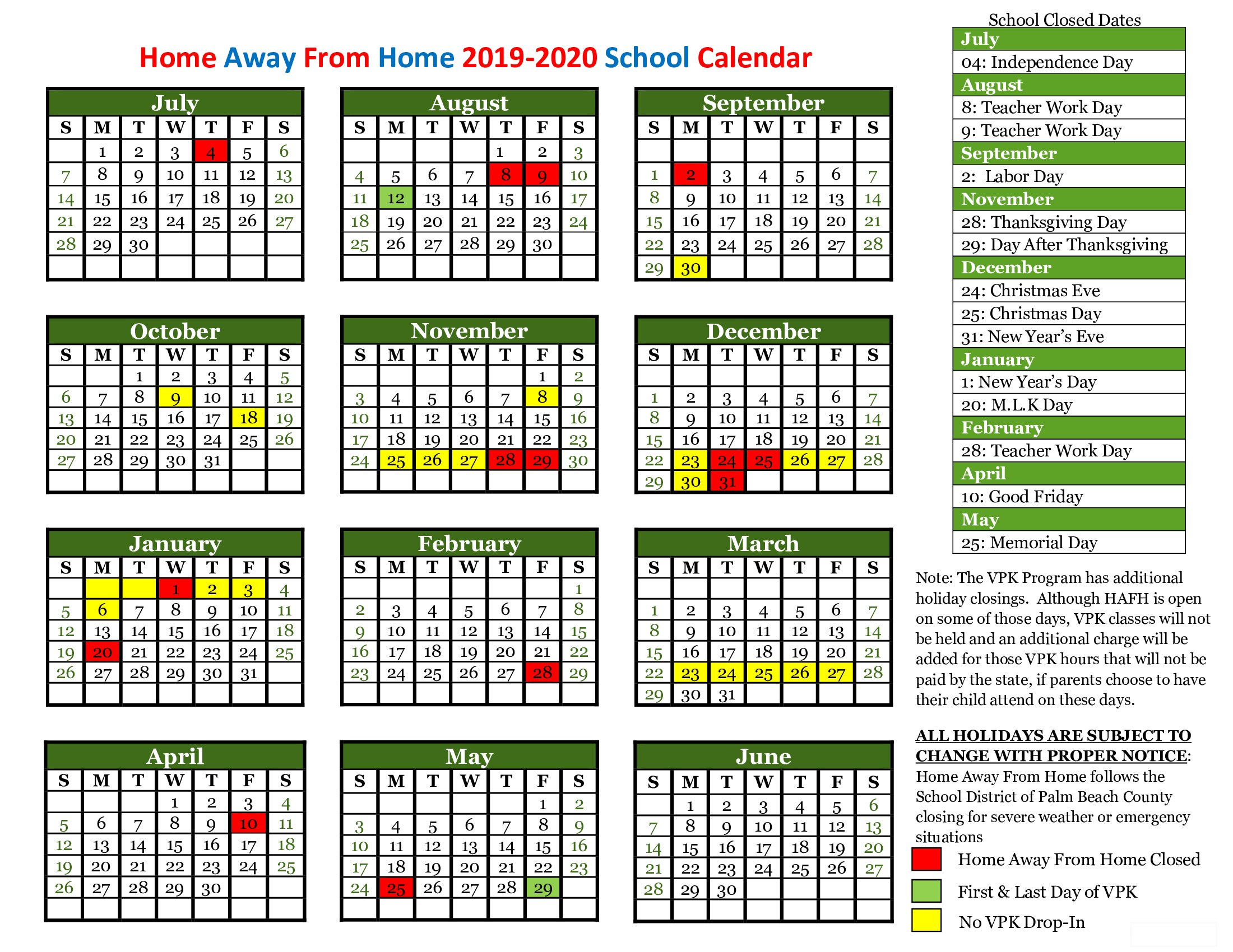 Child Care Holiday Schedule - View School Closings | Home Regarding Palm Beach State School Calendar