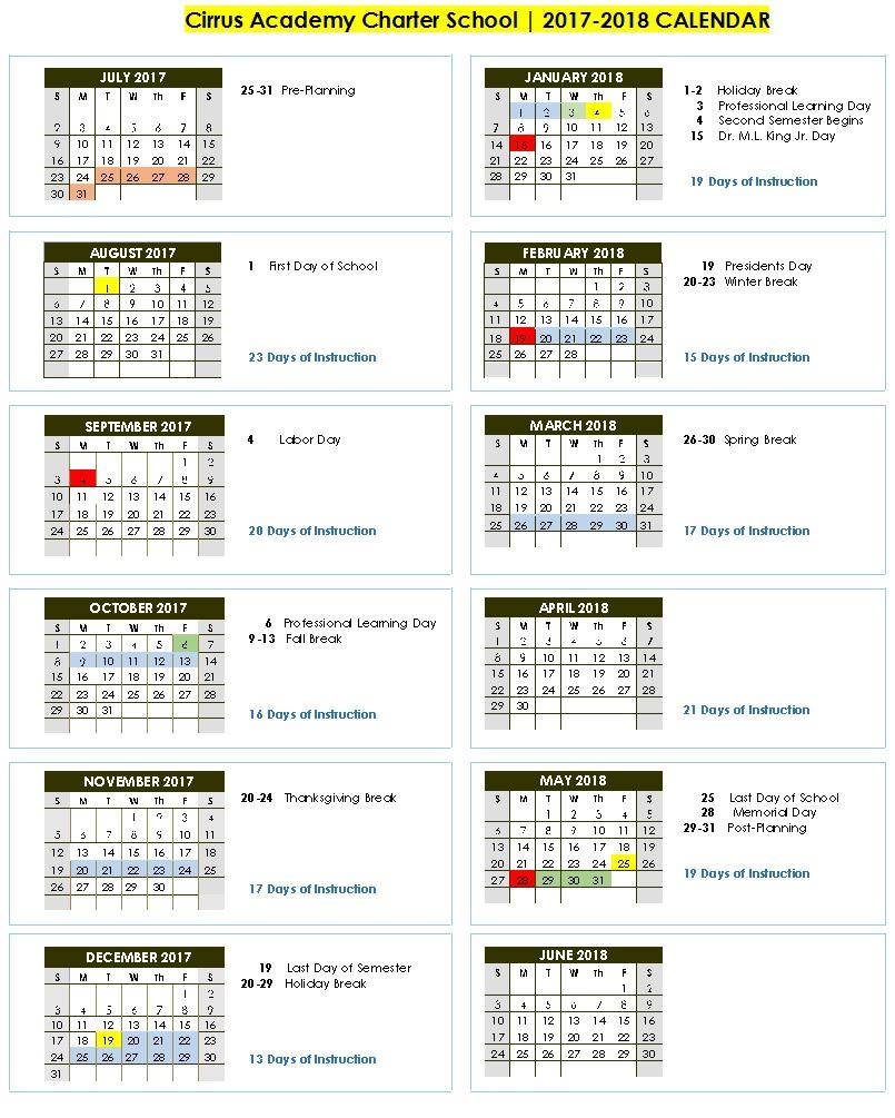 Cirrus Academy 2017 2018 School Calendar – Cirrus Academy Regarding Bibb County Board Of Eduacation Calendar