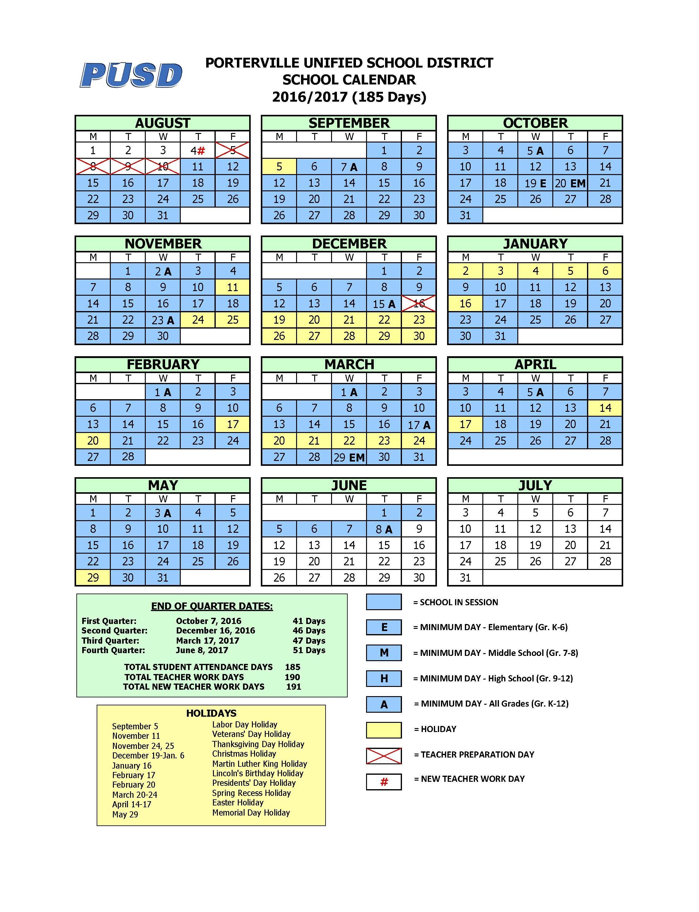 Citrus High School With Porterville School Calendar