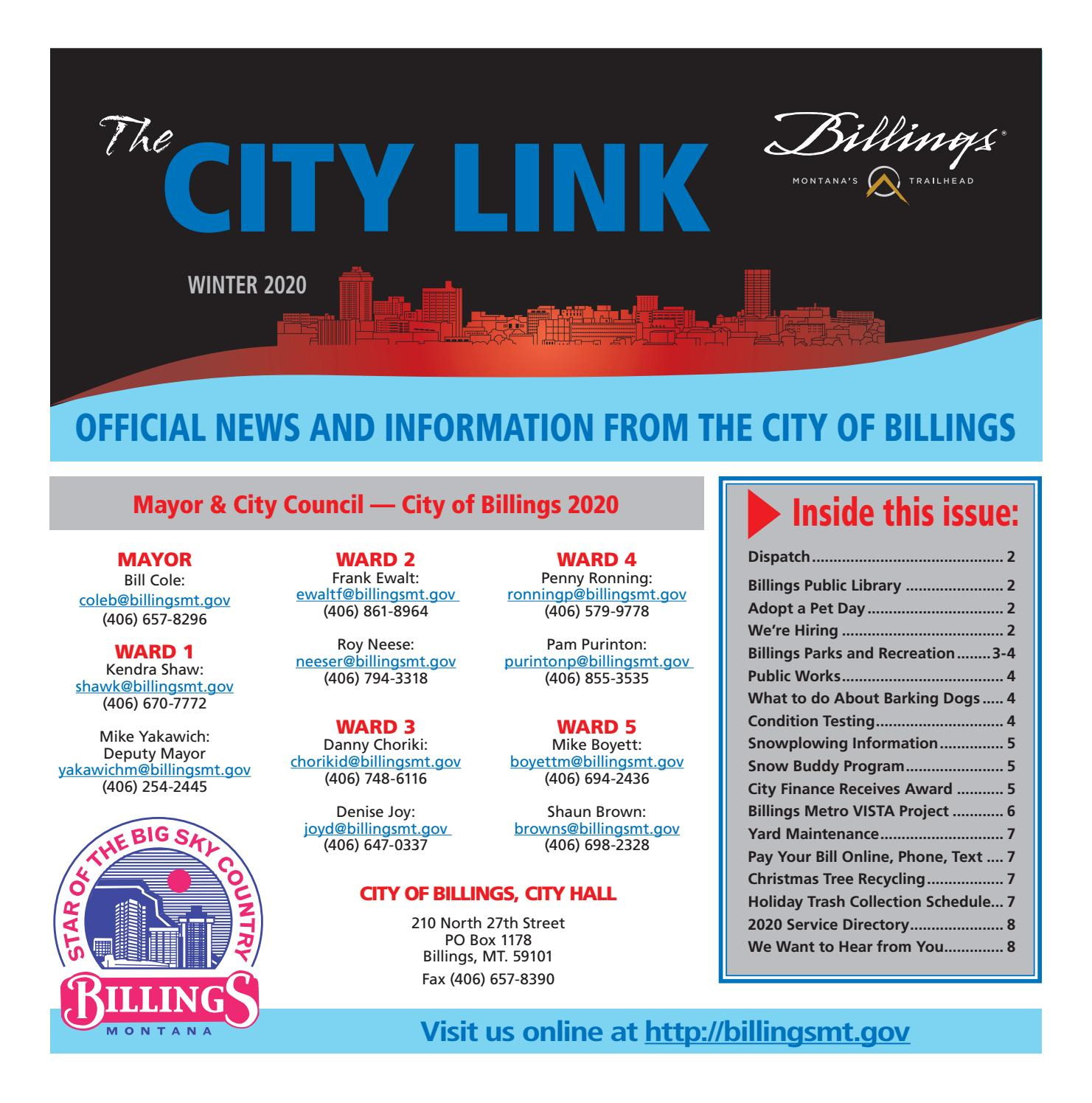 City Link Winter 2020Billings Gazette - Issuu Inside Ool District 2 Calander For Billings Montnana