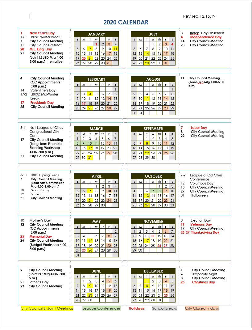 City Of Laguna Beach – City Council Calendar Within Laguna Hills High School Calendar