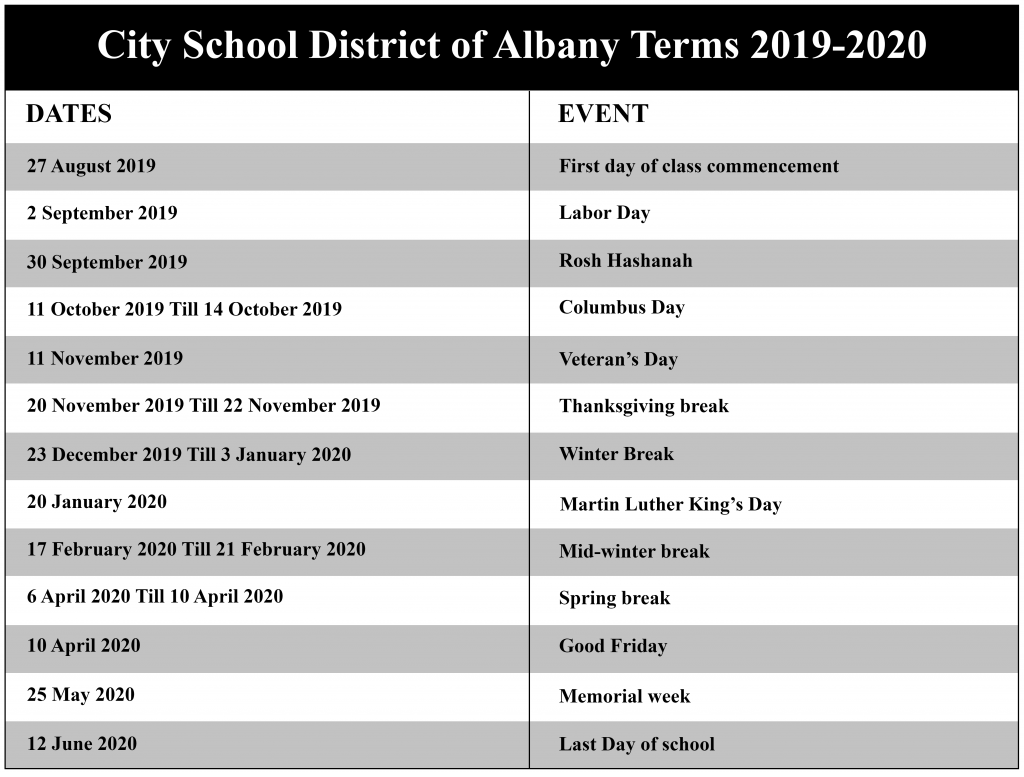 City School District Of Albany Academic Calendar 2020 | Nyc intended for Albany City School District Calendar 2021
