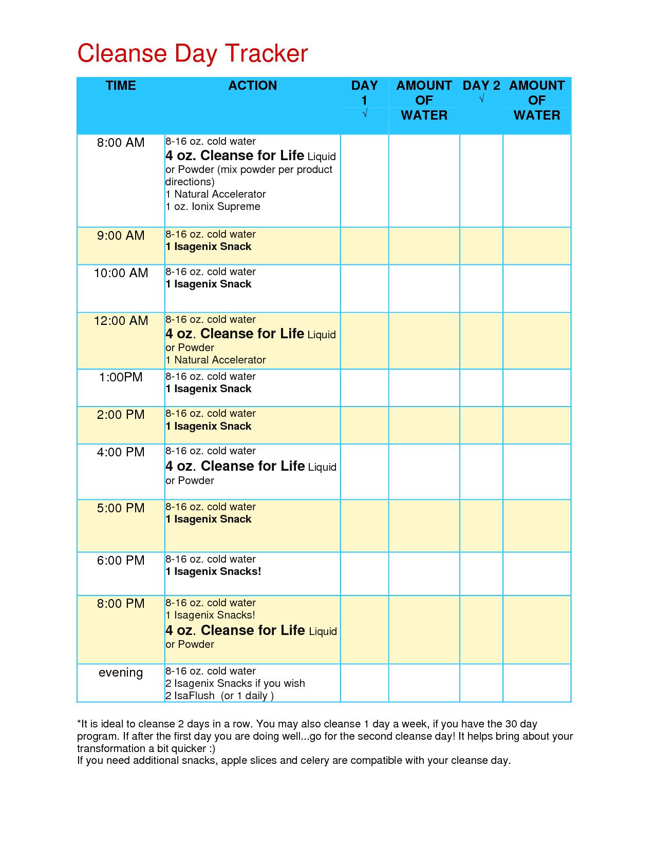 Cleanse Day Tracker | Isagenix Cleanse, Isagenix Snacks Throughout Isagenix Shake Day Schedule Printable