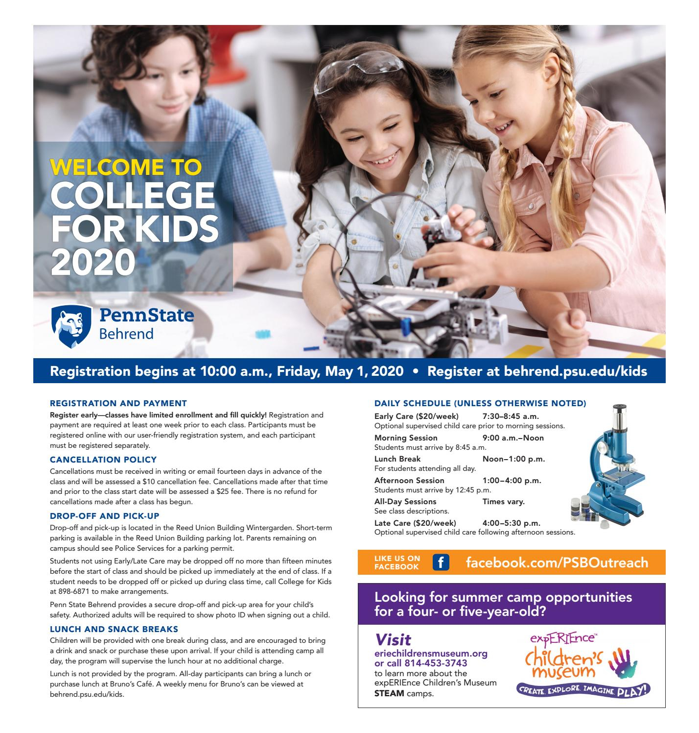 College For Kids 2020 Brochurepenn State Behrend - Issuu Regarding Behrend School Calendar
