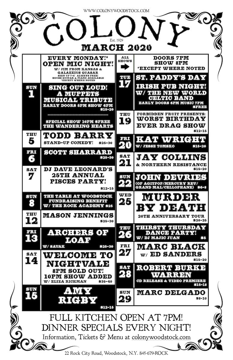 Colony Woodstock Ny – Music Venue & Cocktail Bar – Calendar Intended For New York Jazz Calendar