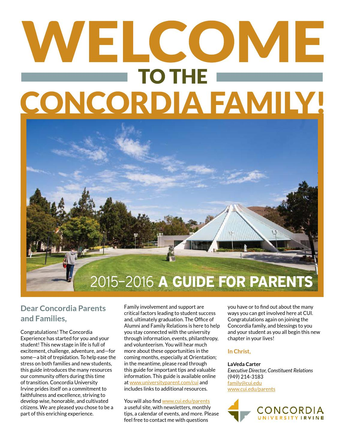 Concordia University Irvine 2015 2016 Guide For Parents Regarding Concordia Irvine Spring Break