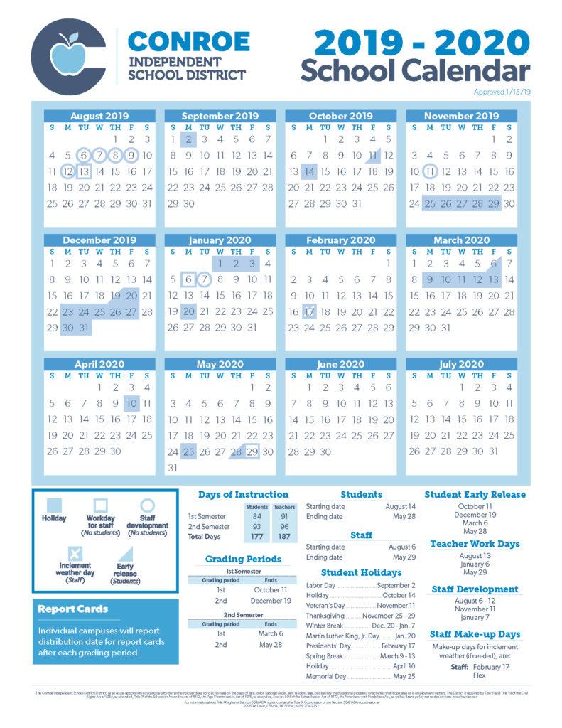 Conroe Isd Trustees Approve 19 20 School Calendar – Conroe Isd Inside Houston County Board Of Education Calendar