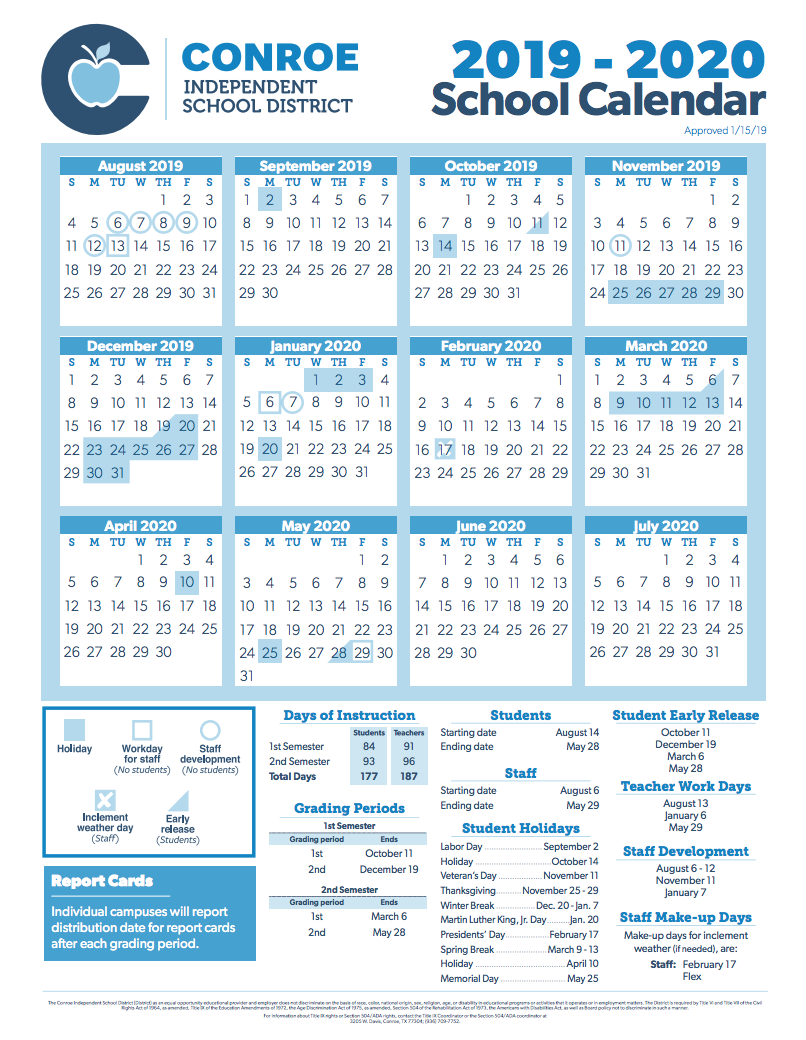 Conroe Isd Trustees Approve 2019 2020 School Calendar In New Caney School Calendar