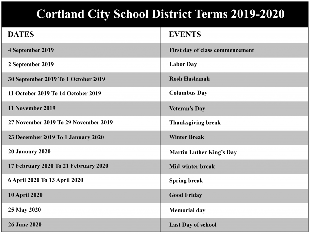 Cortland City School District Academic Calendar 2020 | Nyc Inside Ithaca City School District Calendar