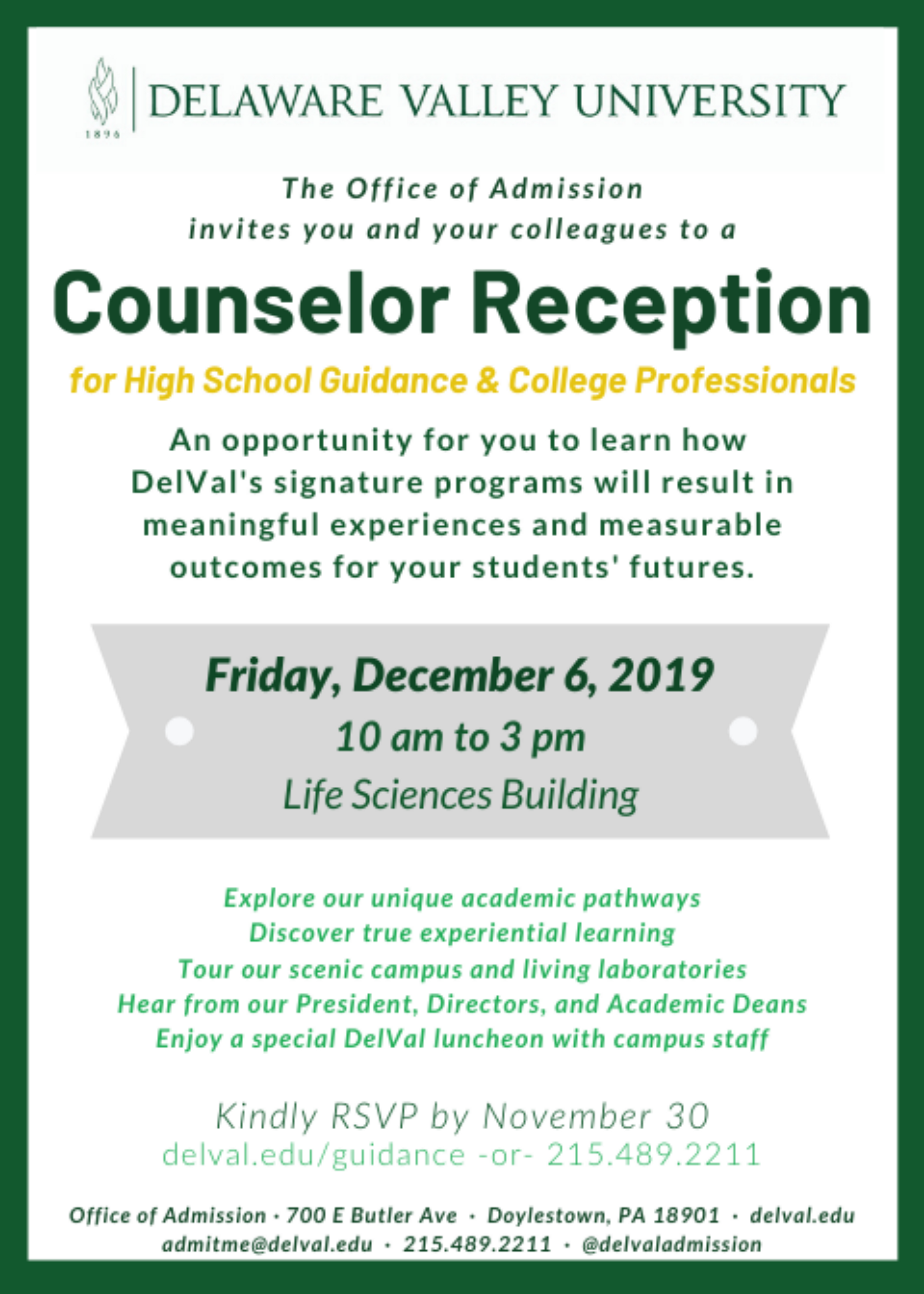 Counselor Reception | Delaware Valley University For Delaware University Academic Calendar