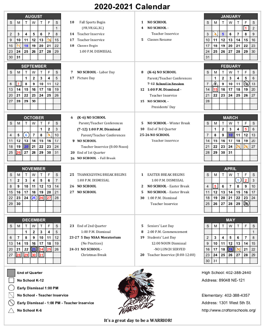 Crofton Community Schools - 2020-2021 Calendar within Santa Teresa High School Calendar 2021