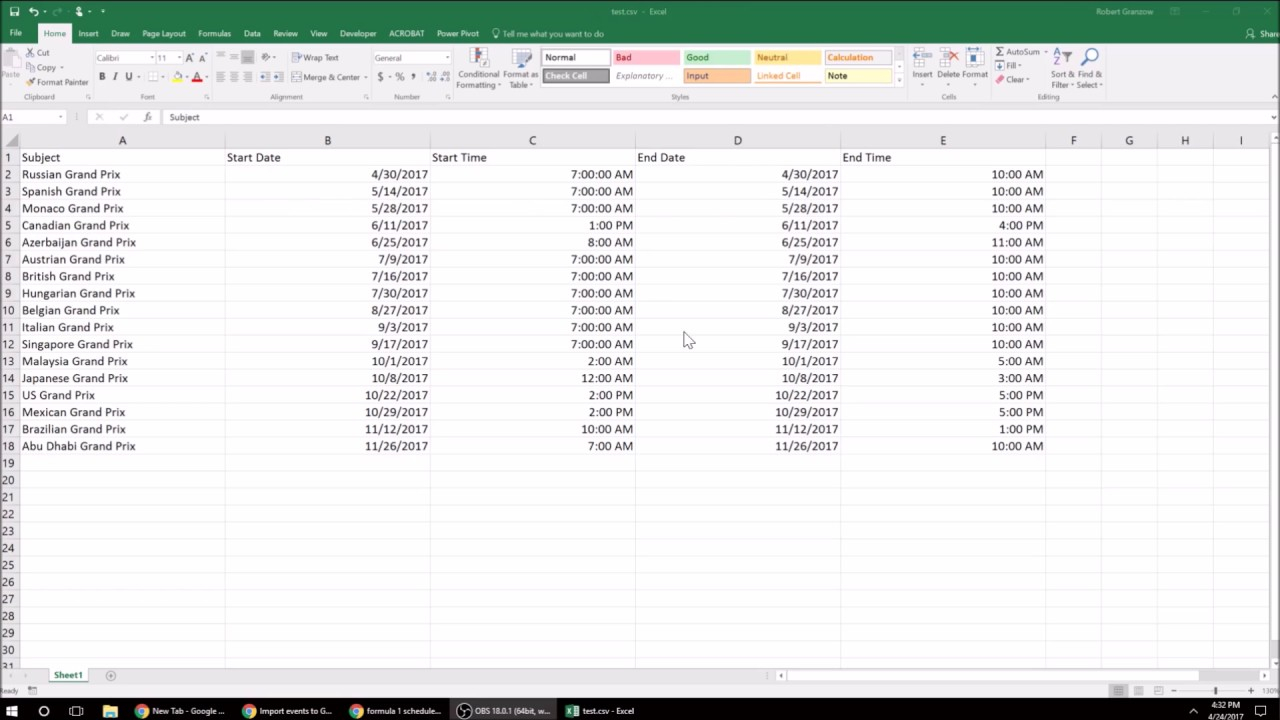Csv File Import To Google Calendar With Convert Excel Spreadsheet To Calendar