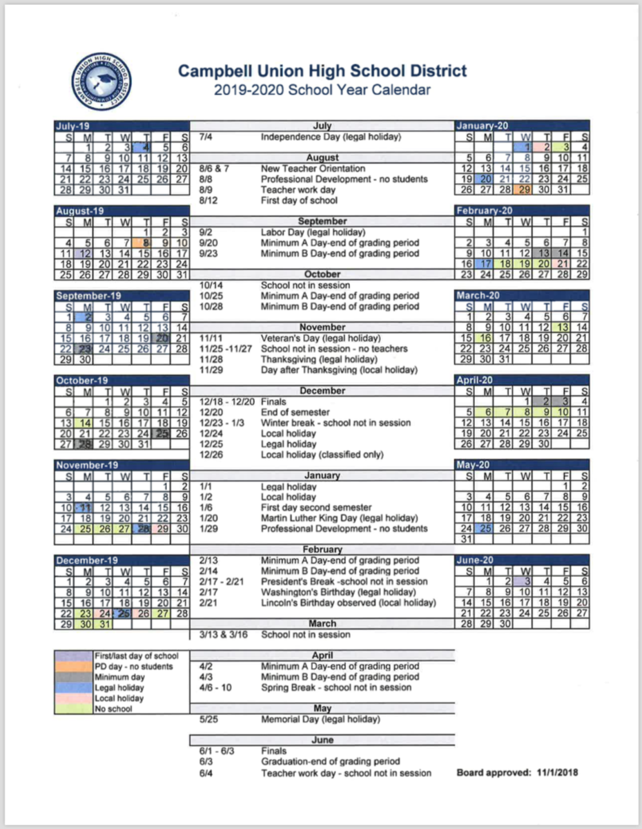 Cuhsd Academic Calendar 2019 20 – Campus Calendars – Del Mar Pertaining To Morgan Hill Unified School District Calendar