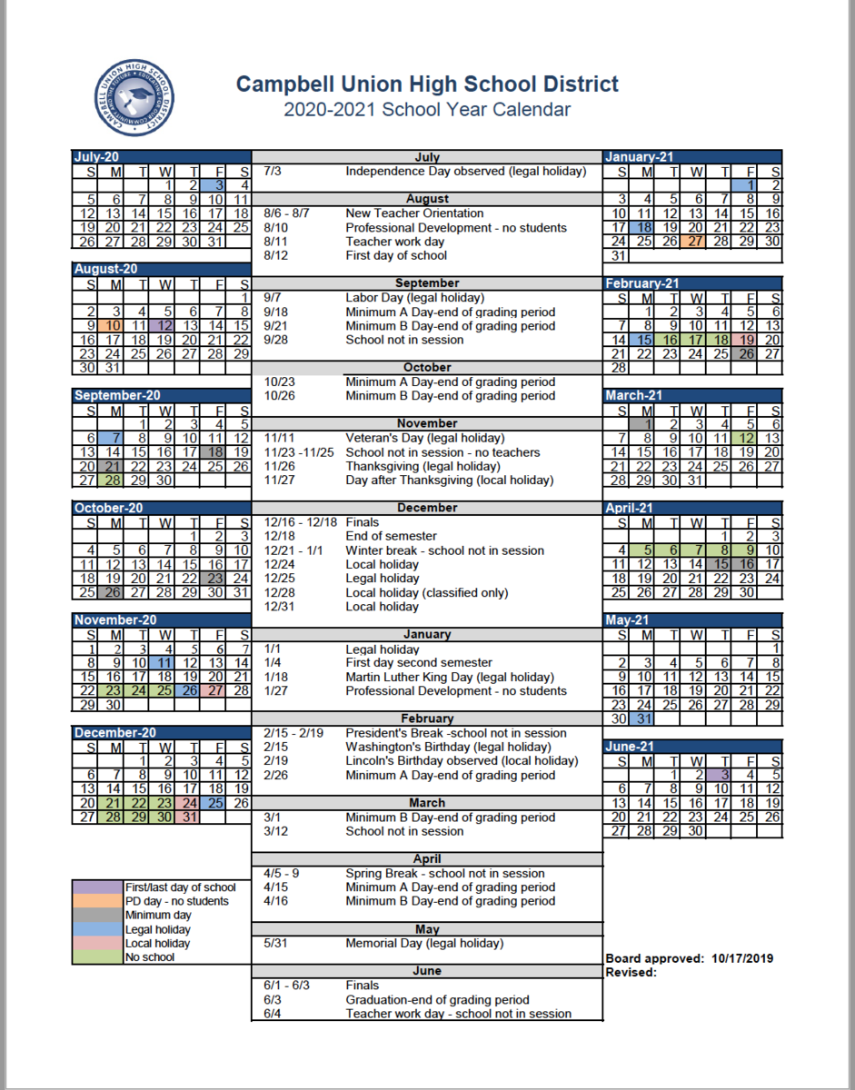 Cuhsd Academic Calendar 2020-21 & 2021-22 – Campus Calendars intended for Gilroy Unified School District Calendar 2021