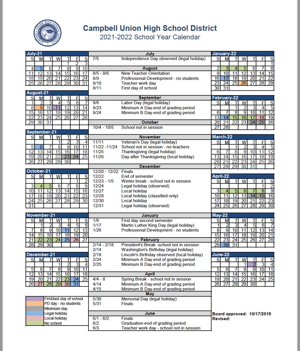 Cuhsd Academic Calendar 2020 21 & 2021 22 – Campus Calendars Pertaining To Hayward Unified School District Calendar 2021