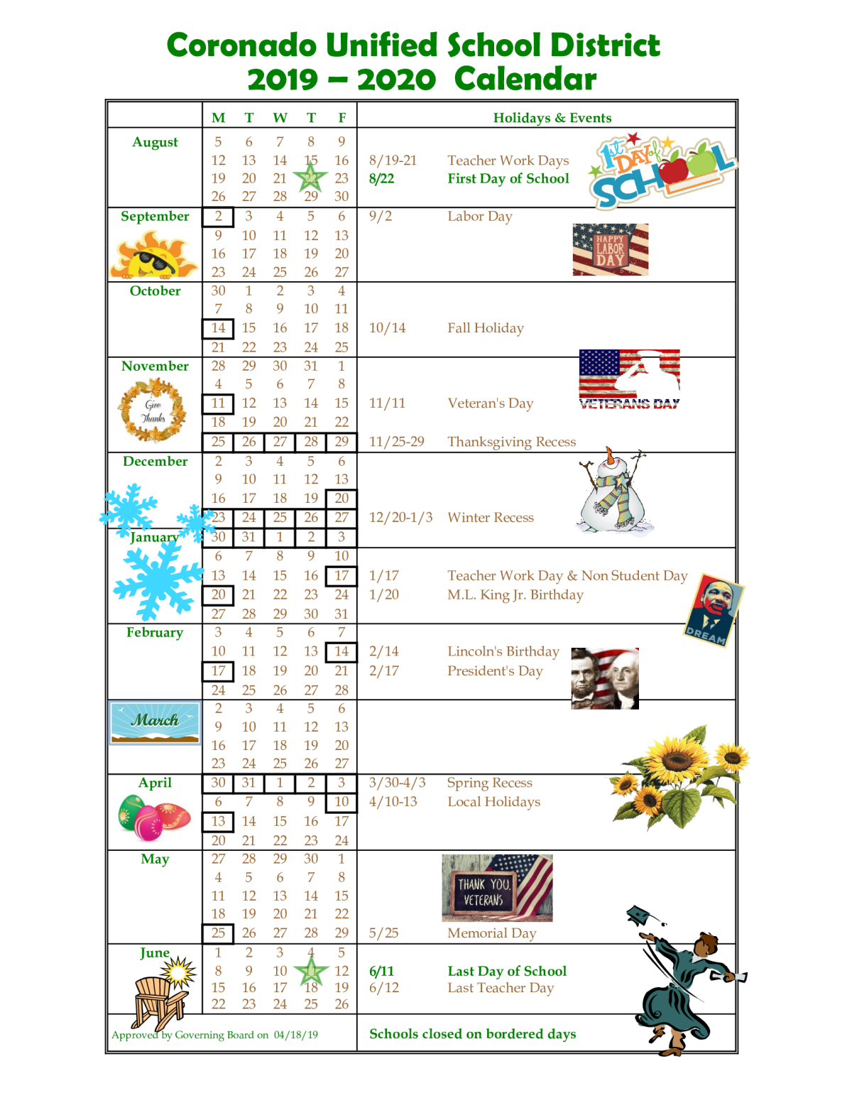 Cusd Calendar For 2019 2020 | Coronado Middle School With Regard To Oceanside Unified School District Calendar