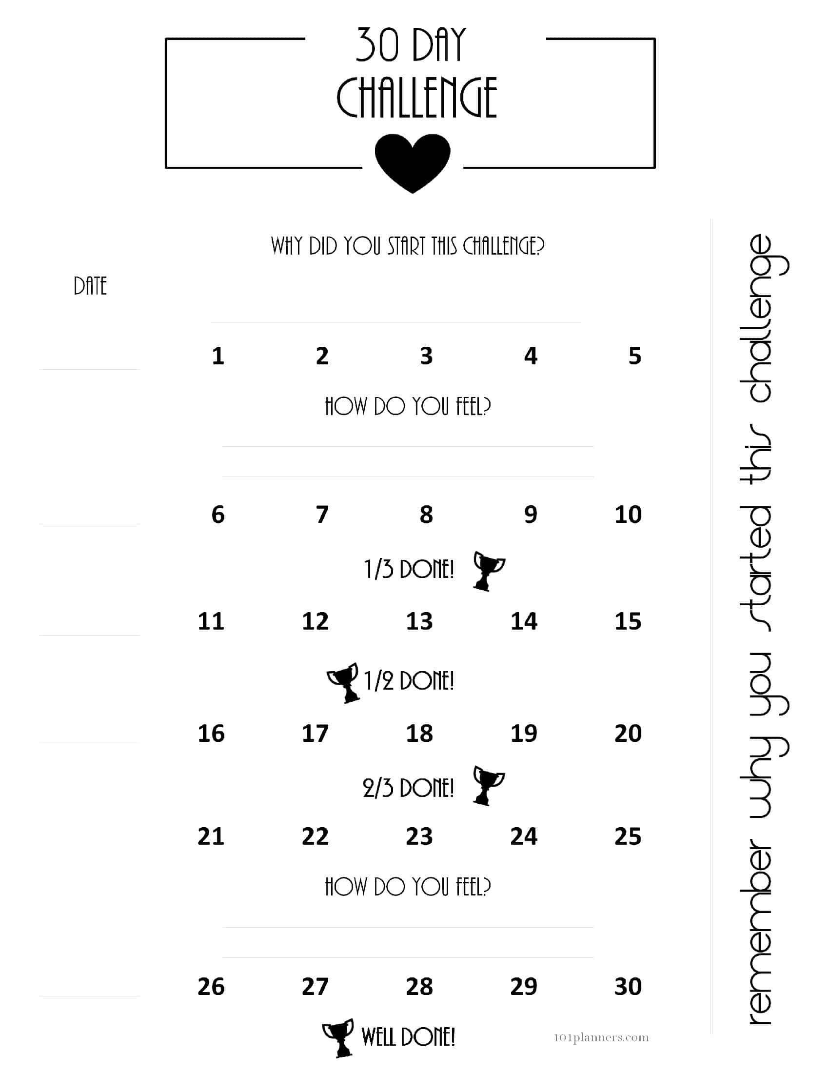 Пин На Доске Планировщик Распечатать Intended For 30 Day Challenge Calendar