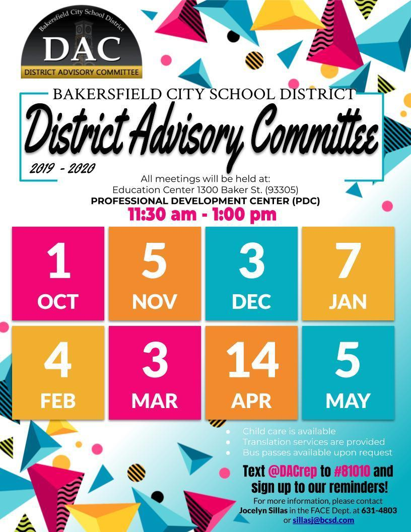 Dac – District Advisory Committee – Family And Community Inside Bakersfield City School District 2020  2021 School Calendar