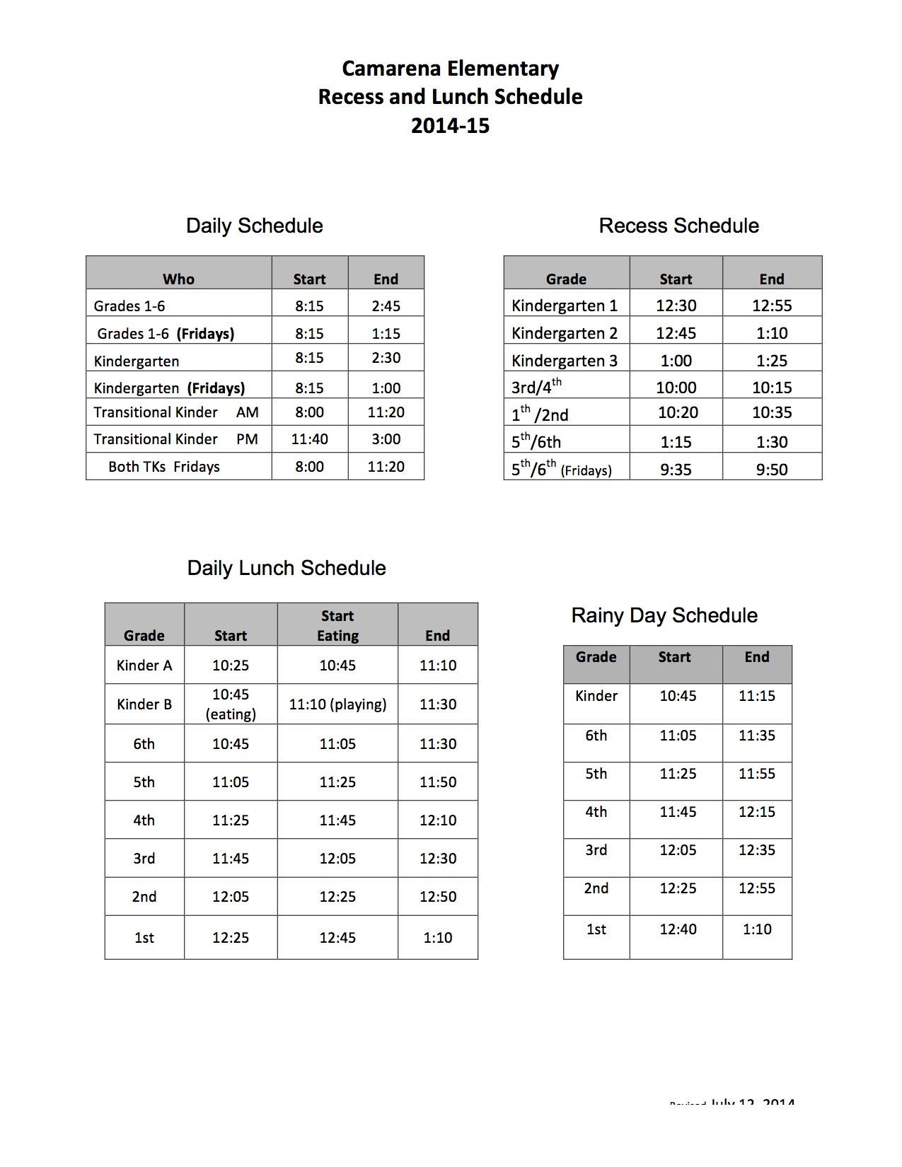 Daily Schedule | Camarena Elementary School Regarding Otay Ranch High Scool Calendar
