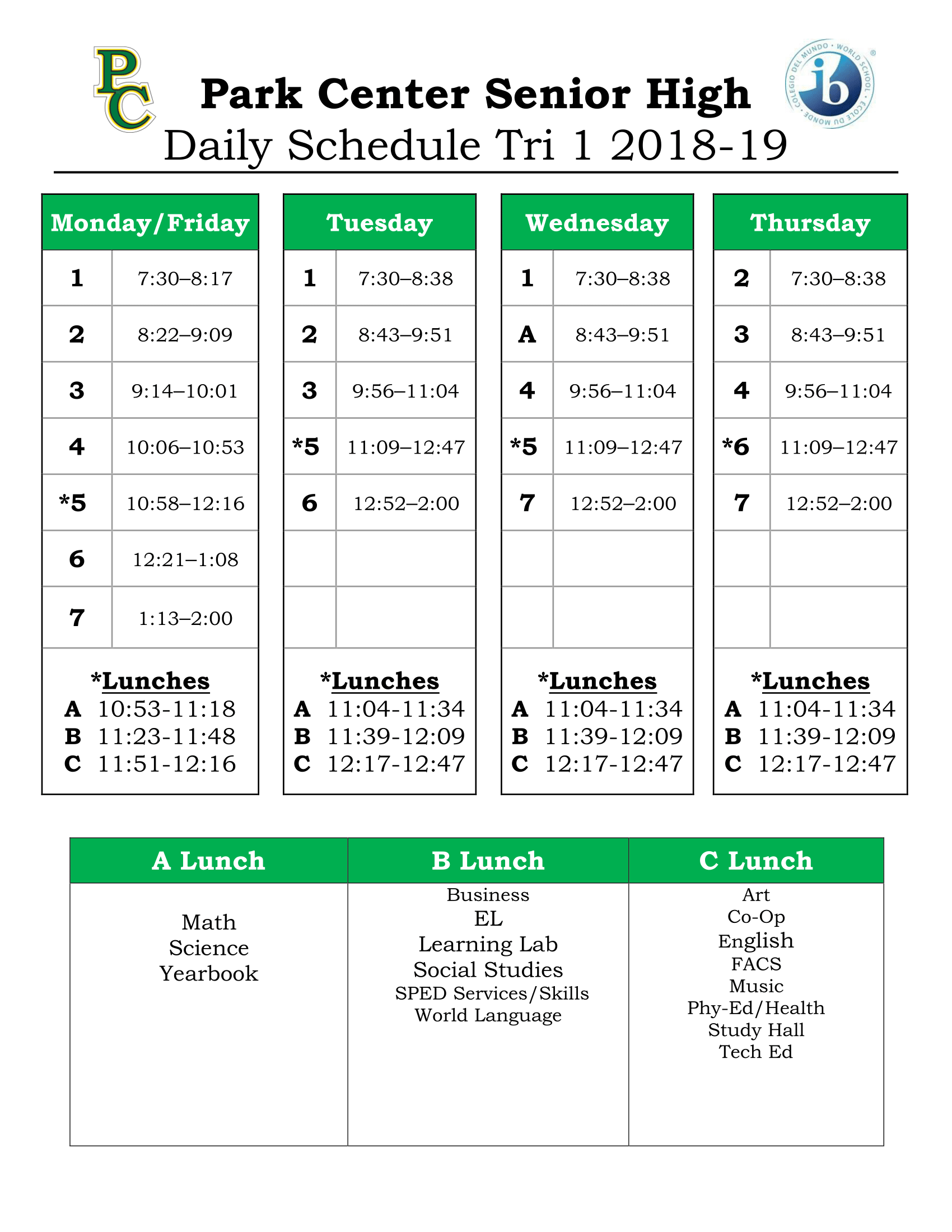Daily Schedule For Eden Prairie High School Calendar