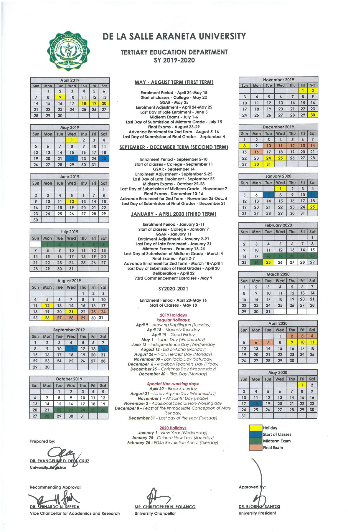 De La Salle Araneta Website   Calendar Inside La Salle University Calander
