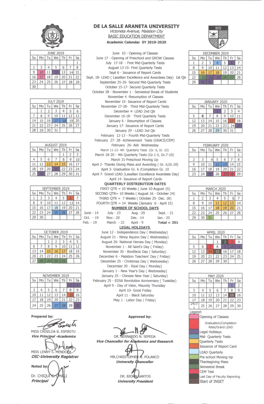 De La Salle Araneta Website | Calendar Throughout La Salle University Academic Calendar