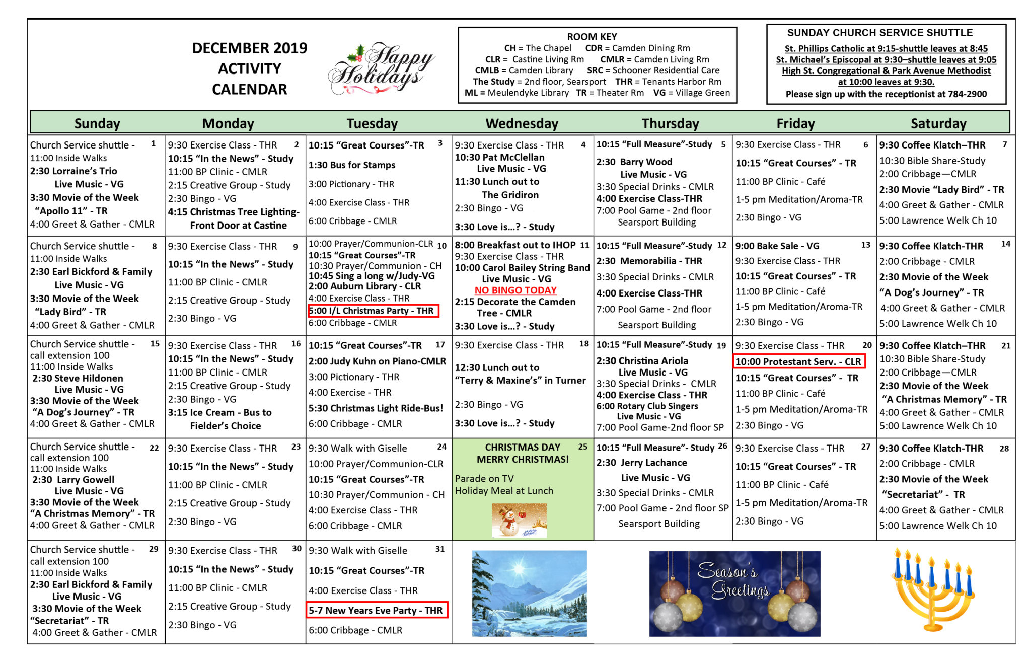 December Activity Calendars Regarding Assisted Living Activity Calendar