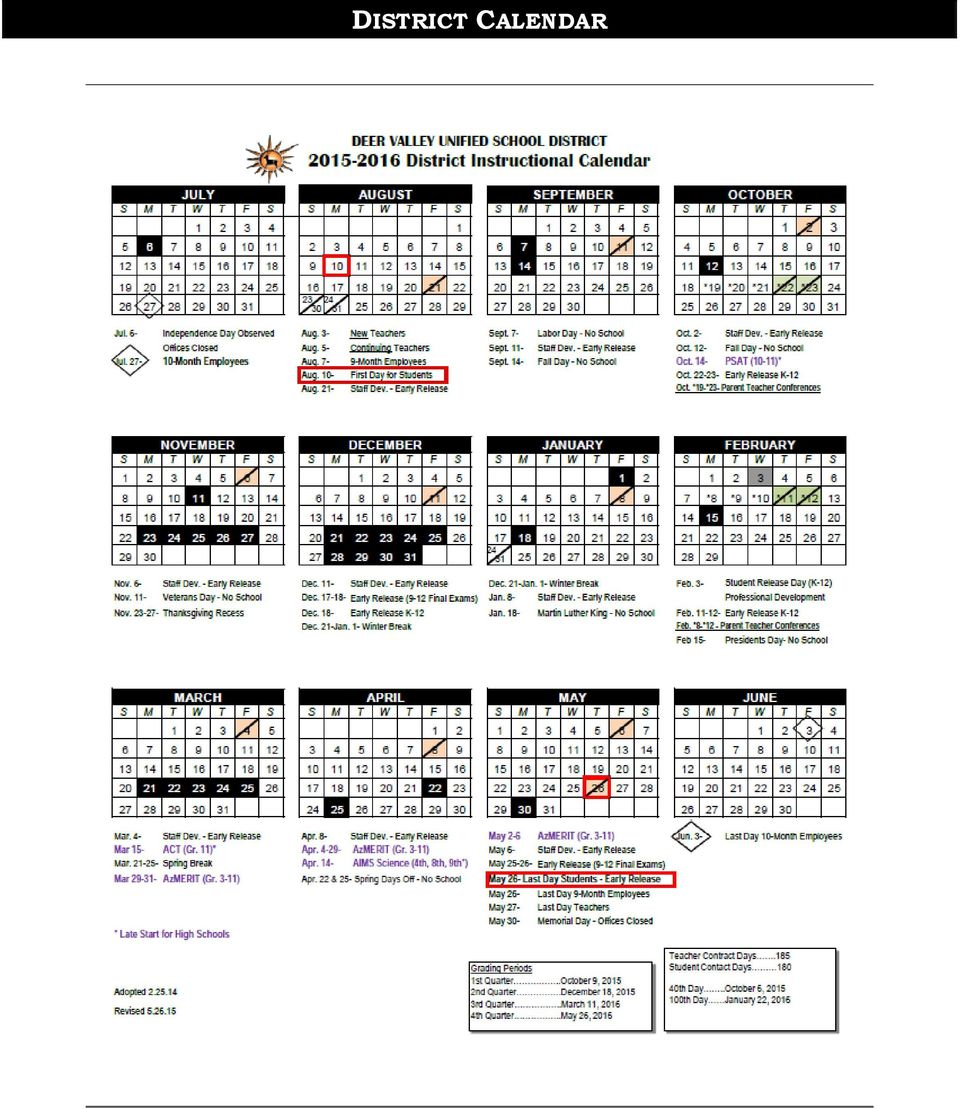 Deer Valley High School Parent/student Handbook And Daily For Deer Valley Unified School District Calendar