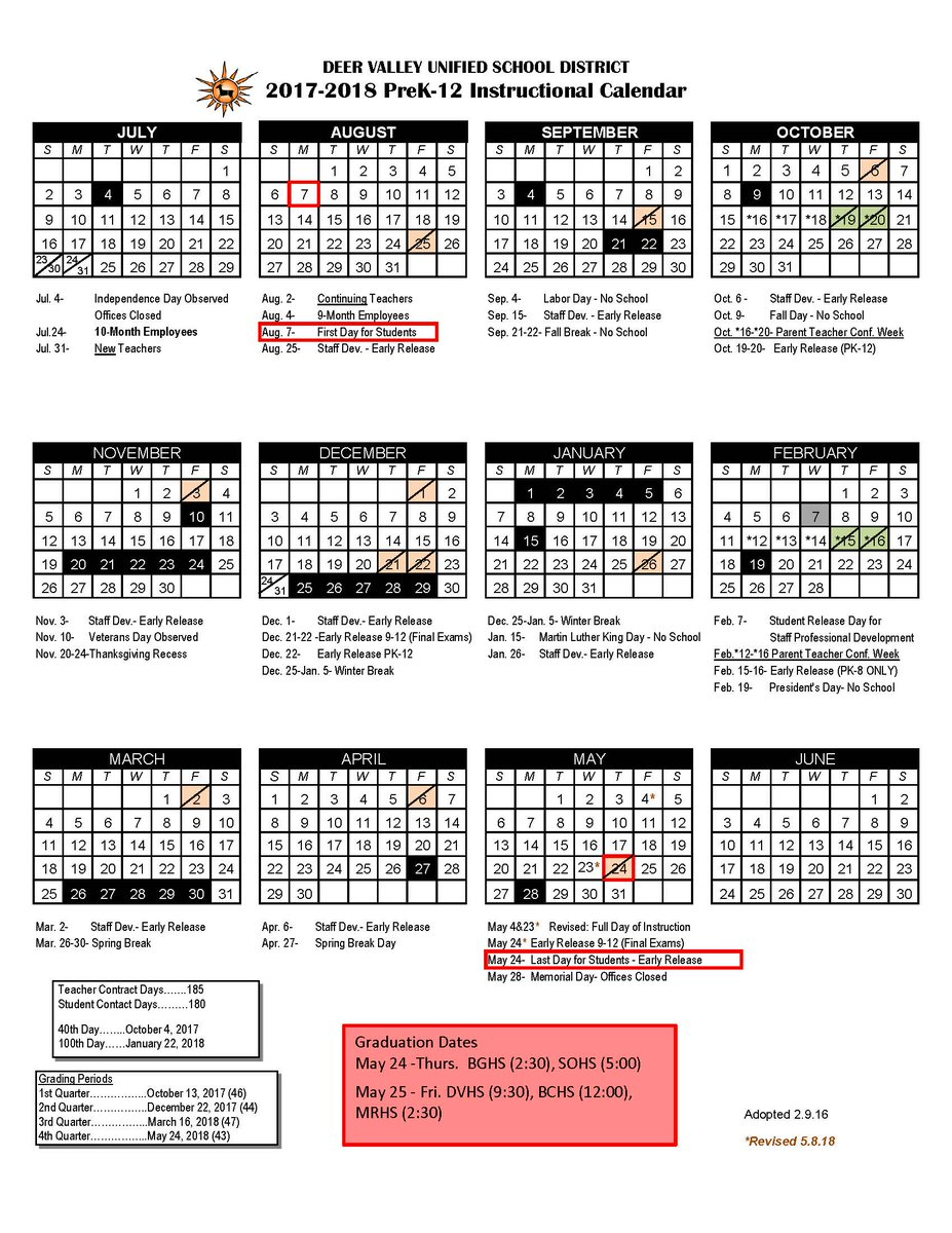 "Deer Valley Unified School District On Twitter: ""updated With Deer Valley Unified School District Calendar"
