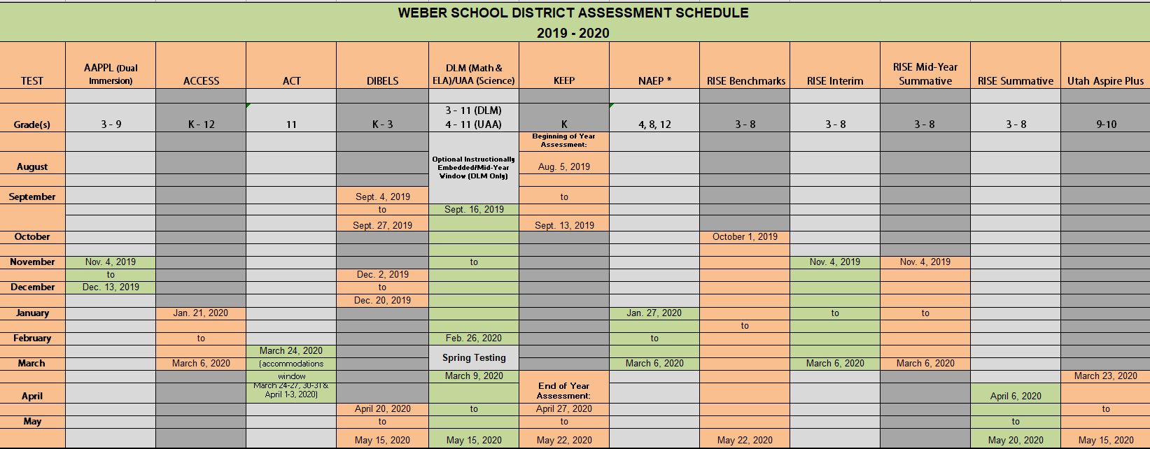 Departments Throughout Weber County School District Calendar