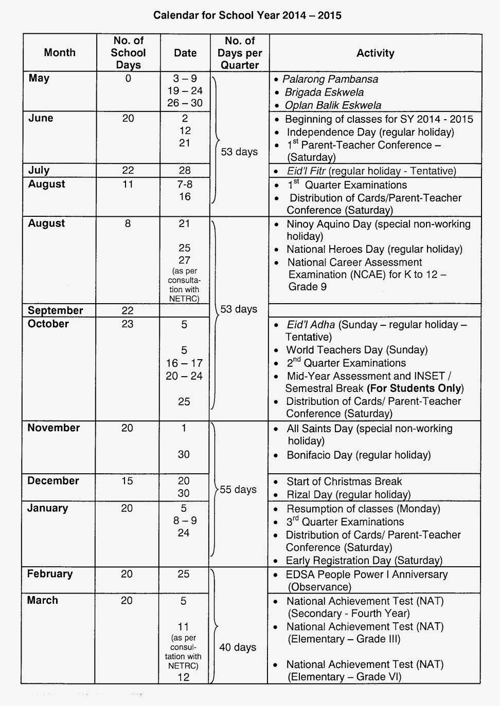 Deped School Calendar - College Paper Example - Help In Nyc Doe Calendar 2014