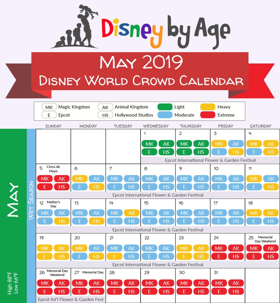 Disney World Crowd Calendar 2018 And 2019 | Disney World Intended For 2021 Extra Magic Hours Calendar
