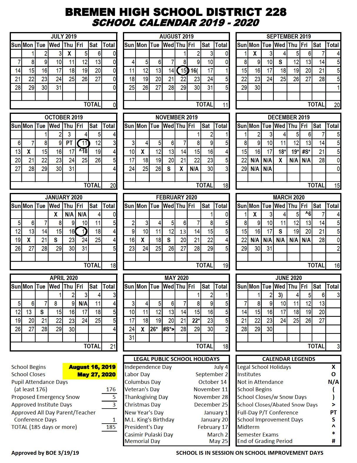 District Calendar (19 20) - Oak Forest High School With Regard To St Charles Illinois School Calendar