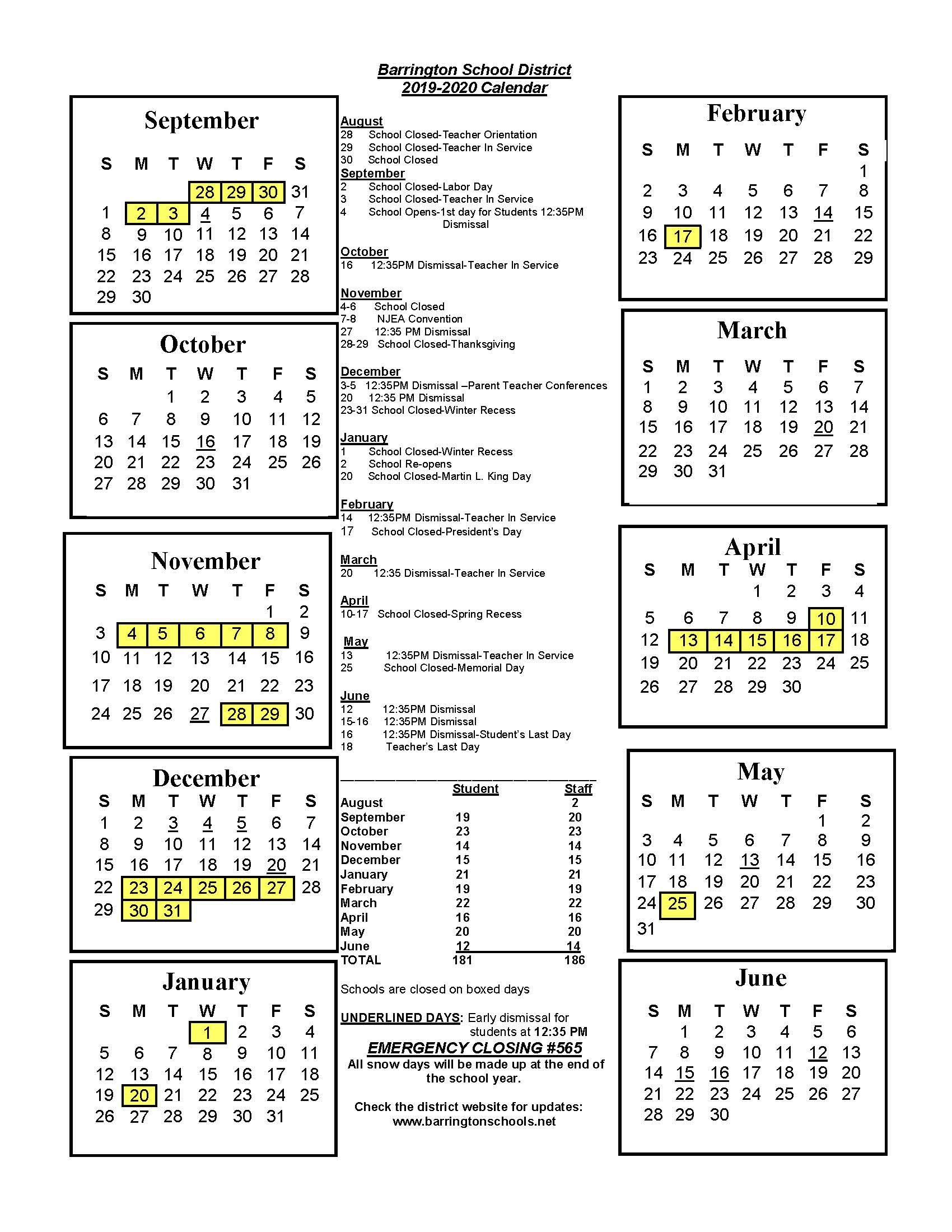 District Calendar - Barrington School District Intended For Boyertown School Calendar