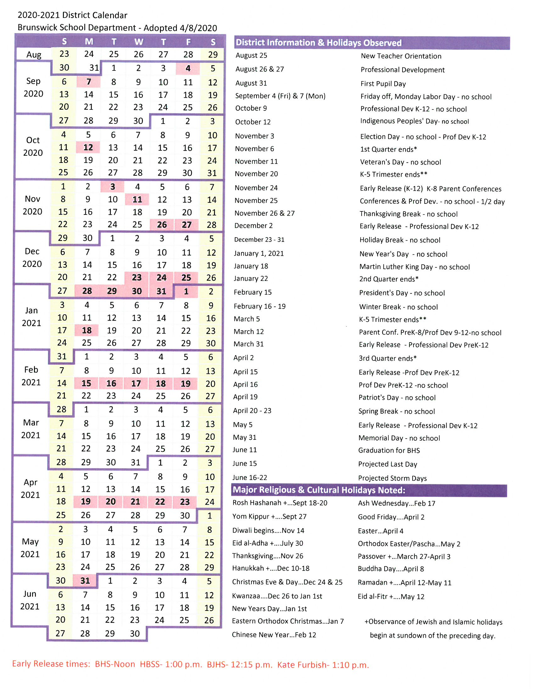 District Calendar - Brunswick School Department inside New Brunswick Public Schools Calendar
